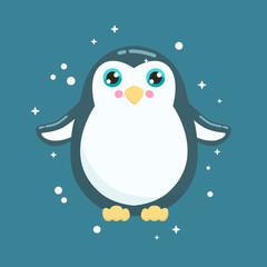 Cute penguin vector illustration. Flat design.