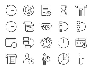 Obraz History and time management icon set. Included the icons as Anti-Aging, revert, time, reverse, u-turn, time machine, waiting, reschedule and more  - fototapety do salonu