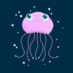 Cute jellyfish vector illustration. Flat design.