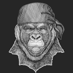 Gorilla, monkey, ape Cool pirate, seaman, seawolf, sailor, biker animal for tattoo, t-shirt, emblem, badge, logo, patch. Image with motorcycle bandana