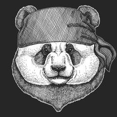 Panda bear Cool pirate, seaman, seawolf, sailor, biker animal for tattoo, t-shirt, emblem, badge, logo, patch. Image with motorcycle bandana