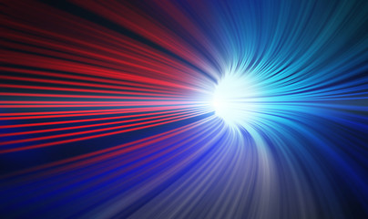 Red and blue abstract speed motion in highway tunnel for technology background ,fast moving toward the light, 3d illustration