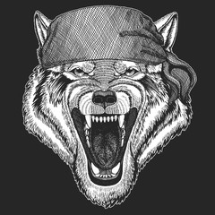 Wolf Dog Wild animal Cool pirate, seaman, seawolf, sailor, biker animal for tattoo, t-shirt, emblem, badge, logo, patch. Image with motorcycle bandana