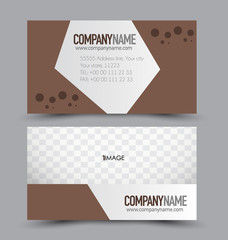 Business card set template for business identity corporate style. Brown color. Vector illustration.