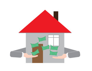 House with hands throwing money