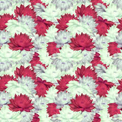 Seamless pattern with lilac and red water lilies