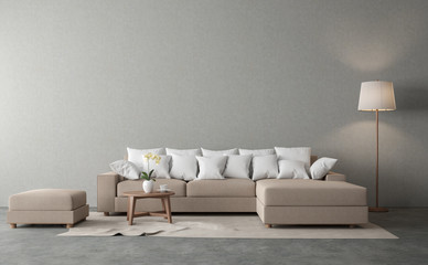 Minimal loft style living 3d render.There are polished concrete floor and gray plaster wall.Furnished with brown fabric sofa