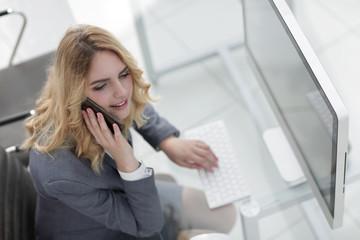 closeup. business woman talking on smartphone