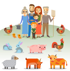 Farmers family with domestic animals
