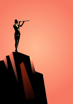 Businesswoman using telescope on top of the mountain