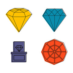 Diamond icon set. Color outline set of diamond vector icons for web design isolated on white background
