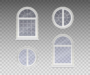 Set of closed round and arched windows with transparent glass in a white frame. Isolated on a transparent background. Vector
