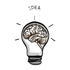 light bulb brain idea hand drawn vector on white background