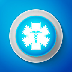 White Emergency star - medical symbol Caduceus snake with stick icon isolated on blue background. Star of Life. Circle blue button with white line. Vector Illustration