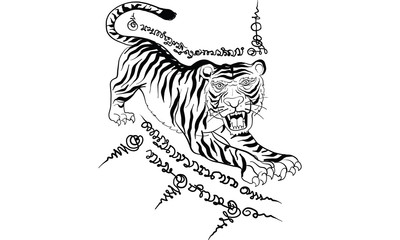 Thai traditional tattoo,  tiger tattoo