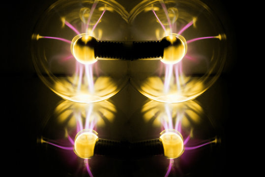 Electricity fire-ball. Abstract photo of electric waves.
