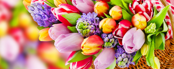Springtime flowers and decorations