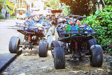 Group of ATV on the road