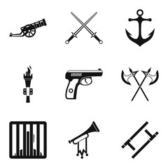 Gun icons set. Simple set of 9 gun vector icons for web isolated on white background