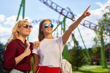 Happy girl pointing at ferris wheel while spending time with her friend in theme park