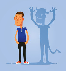 Smiling pretending good person double face man character with devil shadow. Hypocrisy concept. Vector flat cartoon isolated illustration