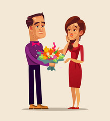 Happy smiling man character giving flowers woman. Romance dating love boyfriend and girlfriend concept. Vector flat cartoon isolated illustration