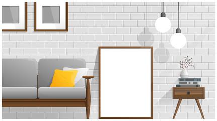 Mock up poster frame in living room , Interior background , vector , illustration