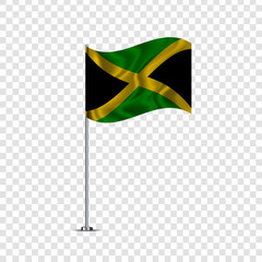 Vector realistic isolated waving Jamaica flag for decoration and covering on the transparent background.