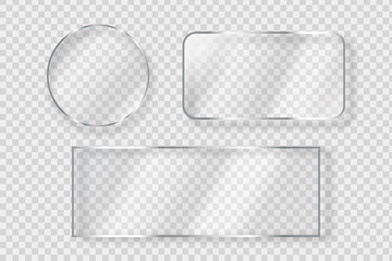 Vector set of isolated realistic glass billboard for decoration and covering on the transparent background.