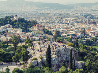 Athens, Greece, 03.03.2018: View of Athens city with Lycabettus hill in the background. view of Athens city with Plaka neighborhood