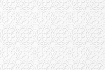 Islamic geometric 3d ornament. Arabic pattern. White paper bulk pattern. The falling shadow. Cardboard. Ramadan Kareem. Eid Mubarak. Vector illustration