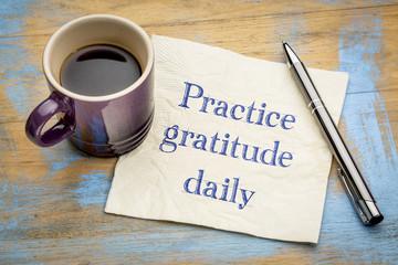Practice gratitude daily - reminder on napkin