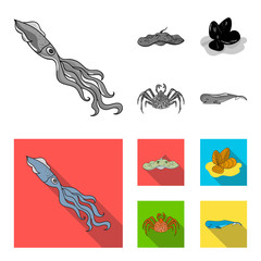 Electric ramp, mussels, crab, sperm whale.Sea animals set collection icons in monochrome,flat style vector symbol stock illustration web.