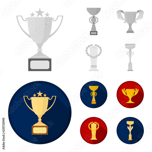 Gold Cup Monochromeflat Icons In Set Collection For Design Winners