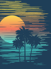 Sunset on tropical beach with palm tree. Sun over evening sea.