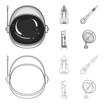 A spaceship in space, a cargo shuttle, A launch pad, an astronaut helmet. Space technology set collection icons in outline,monochrome style vector symbol stock illustration web.