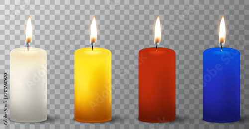 vector 3d realistic different paraffin or wax burning party candle