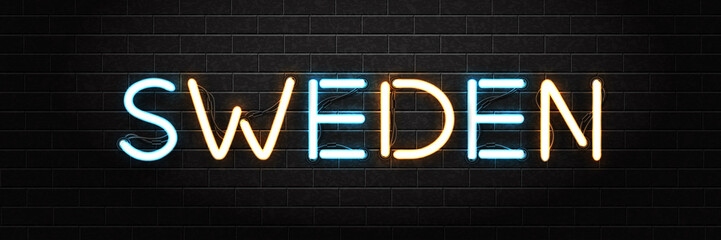 Vector realistic isolated neon sign of Sweden lettering logo for decoration and  covering on the wall background.
