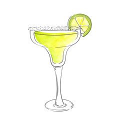 Hand drawn watercolor illustration of summer fresh cocktail Margarita. Isolated on the white background, in vector