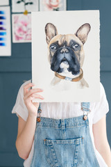 art painting. inspiration and creativity concept. picture of a dog. drawing of a french bulldog. artist creations.