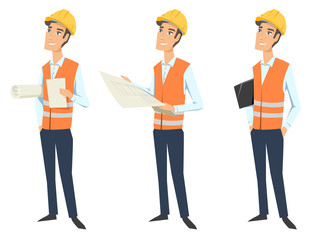 Set of three full length characters (architect, engineer or worker) wearing protective uniforms (protective vest and hardhats) and  looking at blueprint, holding documents and folder.