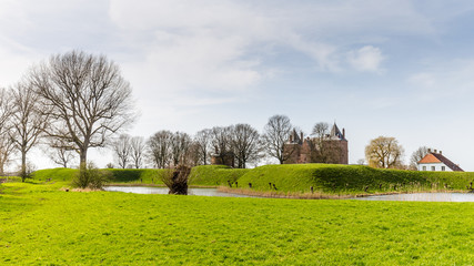 Fortress Loevestein in  Poederoijen, Zaltbommel, Gelderland, Netherlands. Most famous castle of the Netherlands.