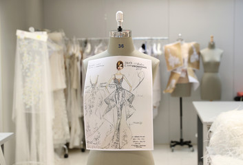 A design is fixed on a mannequin at Pronovias Atelier ahead of the Barcelona Bridal Week