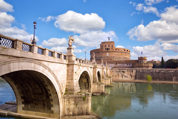 Castle Sant Angelo and bridge across river Tiber in Rome, Italy