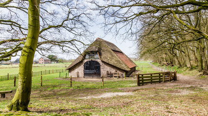 Rustic wooden sheep barn in the Netherlands
