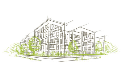 Architectural sketch. Vector.