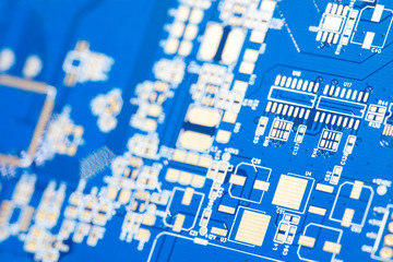 Circuit blue board. Electronic computer hardware technology. Motherboard digital chip. Tech science background. Integrated communication processor. Information engineering component.