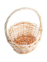 Wicker basket on isolated white background