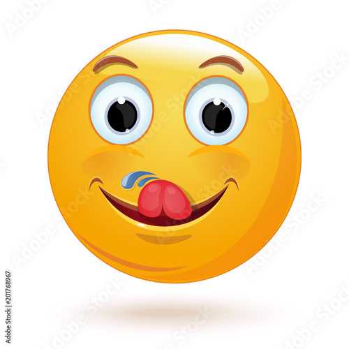 Yummy And Hungry Emoticon Licking Face Smiley Licks Himself