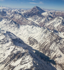 Mount Aconcagua in Argentina (highest pick in America continent). Range of the Andes between Argentina and Chile